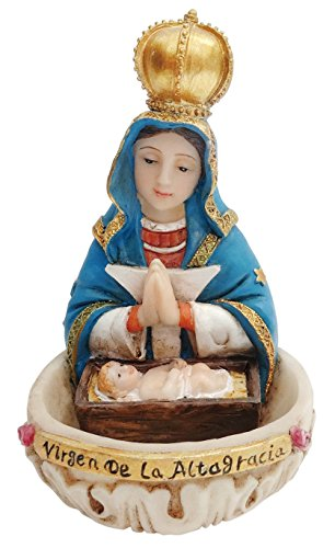 (4.2 Inch Virgen De La Altagracia with Holy Water Holder Pendant Altagracia with water holder can be stood or hanged)