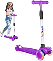 BELEEV Scooter for Kids 3 Wheel Kick Scooter, Perfect for Toddler Girls Boys Age 3~12, Scooter with 4 Adjustab