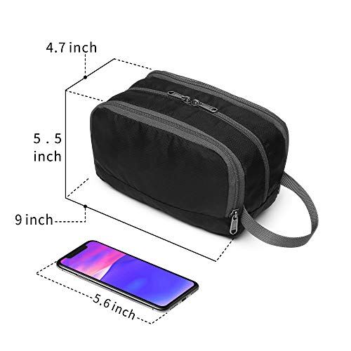 Travel Toiletry Bag for Men, Cambond Shaving Dopp Kit Cosmetic Makeup Organizer for Women Bathroom Shower Bag with Hanging Strap Black