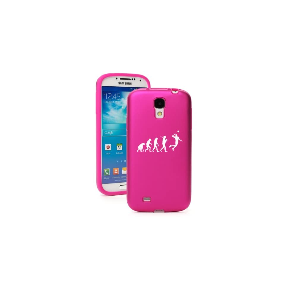 Hot Pink Samsung Galaxy S4 S IV i9500 Aluminum & Silicone Hard Back Case Cover KA265 Evolution Volleyball