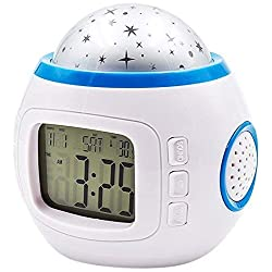 Alarm Clocks for Bedrooms Night Projector Star Lamp Music Digital Time Luminous Thermometer