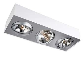 Lirio Bloq by Philips - Foco de interior con 3 luces halógenas, 50 W, casquillo G53, metal, color blanco