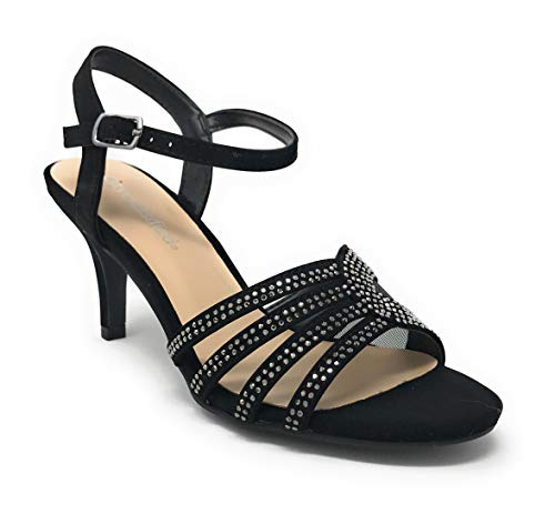(City Classified Comfort Womens JDNasa Strappy Rhinestone Open Toe Low Heel Heeled-Sandals (9 M US, Black N))