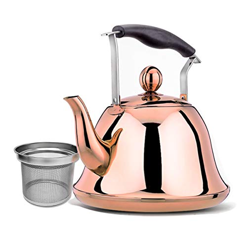 Tea Kettle Stainless Steel Copper Stovetop Teakettle Sturdy Teapot for Tea Coffee Fast Boiling with Infuser Color Copper Mirror Finish 2 Liter / 2.1 Quart (Copper) ()