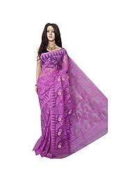 Purple Wedding Dhakai Jamdani Handloom silk Handwork Saree without Blouses piece Ethnic Indian Beautiful Self Work Traditional Sari with Blouse Piece handmade Bengal Weavers 105
