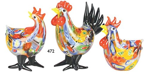 Millefiori Art Glass Chickens - Set of 3 (1 Rooster & 2 Hens)