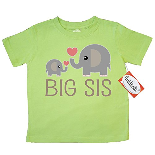 Inktastic Little Girls' Big Sis Elephant Toddler T-Shirt 3T Key Lime