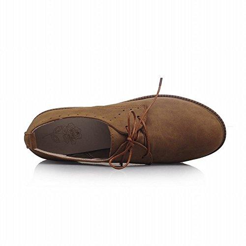 Latasa Femmes Vintage À Lacets Bas Talon Chunky Desert Chaussures Oxford Brun Jaune