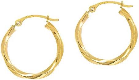 JewelStop 14k Real White Gold Heart Hoop Tubular Earrings