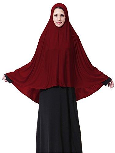 (GladThink Womens Muslim Long style Hijab WINE L)