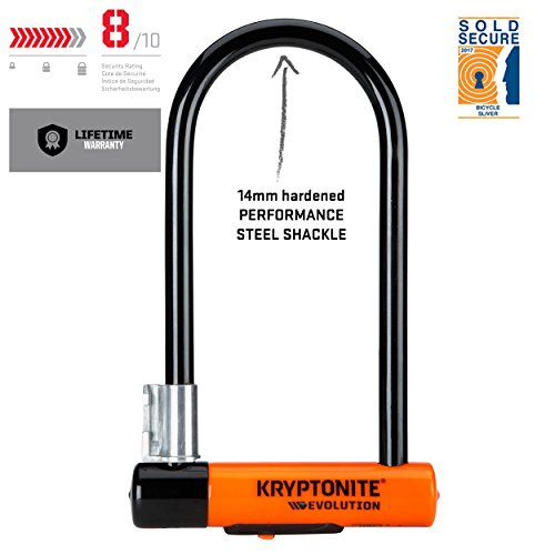 Kryptonite Evolution Mini-7 13mm U-Lock Bicycle Lock with FlexFrame-U Bracket & KryptoFlex 410 10mm Looped Bike Security Cable