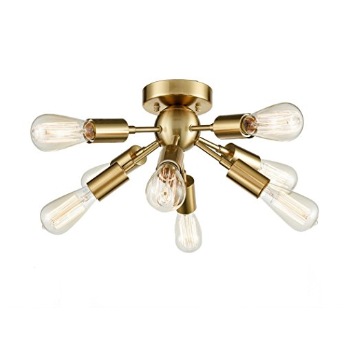 (CLAXY Ecopower Antique Brass Sputnik Chandelier with 8 Socket Flush Mount Ceiling Light)