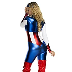 - 41LSXl41OYL - Forplay Women's Star Spangled Hero Catsuit with Stripe Waist and Headband