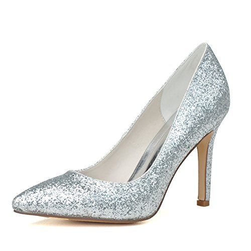 Clearbridal Women's Pointed Toe Flash Material Wedding Shoes and Prom Shoes ZXF0608-14 Silver y0eAlX