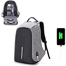 Business Laptop Backpack with USB Charging Port Water Resistant Bag For Men Women College Student Fits Under 15.6-Inch Laptop Travel Backpack (grey)