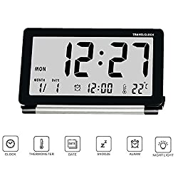 Yxaomite Digital Travel Alarm Clock Home Decor Electronic Folding Alarm Clock Silent LCD Portable Desktop Table Bedside Clocks Battery Operated Calendar Temperature Repeating Snooze