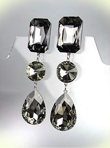 (GLITZY Smoky Gray Black Czech Crystals LONG Bridal Queen Pageant CLIP Earrings For Women)