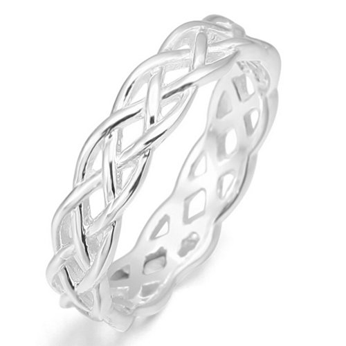 [INBLUE Women's 925 Sterling Silver Ring Band Silver Tone Triquetra Irish Celtic Knot Wedding Love] (Unique Costume Jewelry Rings)