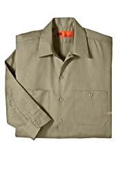 Dickies Occupational Workwear LL536KH M Polyester/ Cotton Men's Long Sleeve Industrial Patterned Shirt, Medium, Khaki