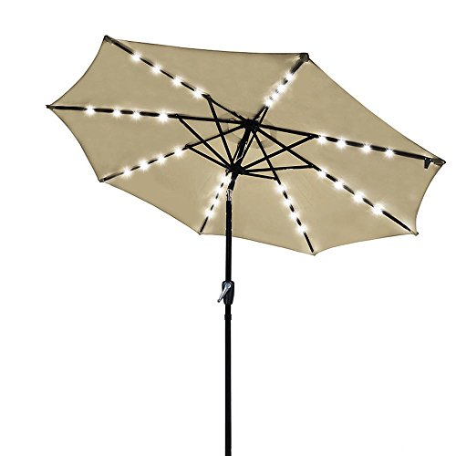 - Yescom 9' Outdoor Solar Powered LED Umbrella 8 Ribs w/ 32 Lights for Patio Garden Deck Crank Tilt UV30 Beige