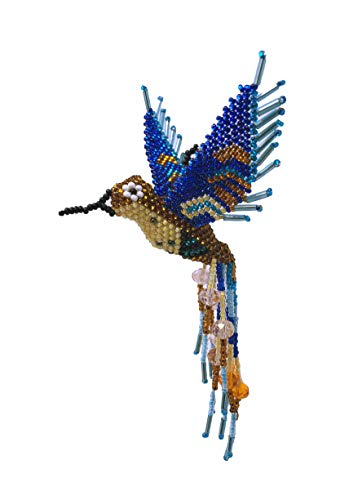 Mayan Arts Hummingbird, Beaded Ornamental Figurine, Blue Tones, Golden Brown, Cream, and Orange, Christmas Tree Ornaments, Holiday Decoration, Handmade in Guatemala 3 Inches X 5 Inches