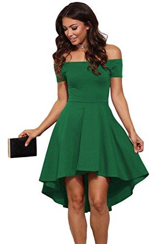 Scollo Mini Donna Elegante Abito Barchetta Vestito Damigella Festa Verde Da Cerimonia nqfaBx6wT8