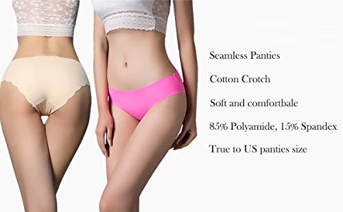 f1e8d0b61a HeyUU Womens Invisible Seamless Bikini Panties Pack of 6 Colors ...