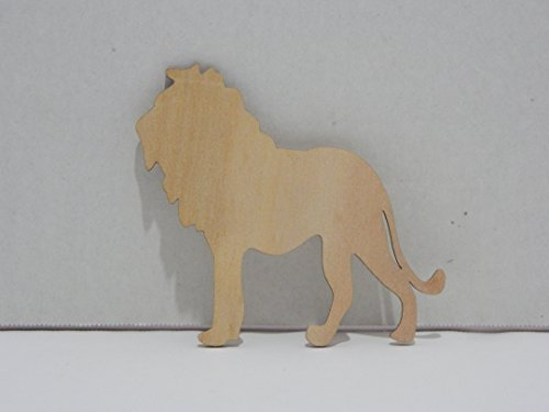 - Package of 12 Unfinished Wood Cutouts for Painting and Crafting (Wood Burn Edges Lion)