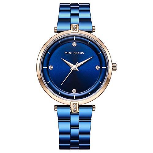 Tayhot Women Blue Stainless Steel Quartz Watch,Ladies Crystal Dial Watch Girls Analog Waterproof Business Bracelet Wristwatch with Rose Gold Case
