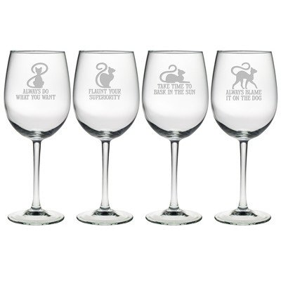 Cat Philosophy Wine Glass (Set of 4)