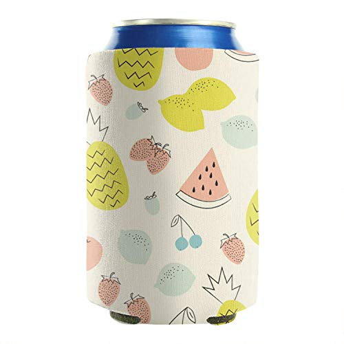 Yummy Fruits Pineapple Strawberry 12-16 OZ Bottles Premium Neoprene Beer Can Sleeves Drink Coolers Can Coolers Sleeves Non-Slip Durable Fully Stitched Pack Of 2 Plain Tailgating