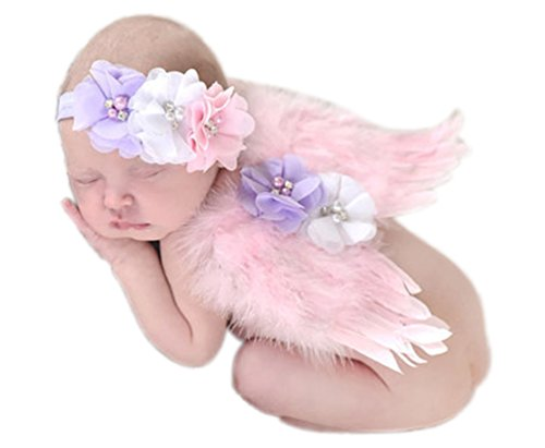 Mummyhug Newborn Baby Photography Props Feather Angel Wings with (Detective Womens Costumes)