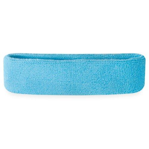 Suddora Head Sweatbands - Athletic Cotton Terry Cloth Headbands for Sports (Neon Blue)