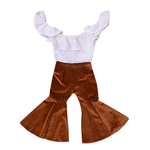 (Toddler Kids Baby Girl Ruffled Sleeveless Tops Flare Long Pants Outfits Clothes)