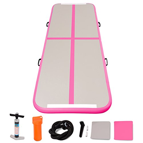 Goplus Inflatable Gymnastic Mat Air Track Tumbling Mat with Pump Air Floor for Home Use, Beach, Park and Water (Pink) - Air Track