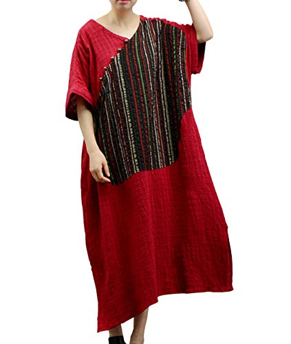 YESNO JN3 Women Long Loose Maxi Dress 100% Linen Casual Plus Size Striped Patchwork Short Sleeve Wide (Dress Cuff Patches)