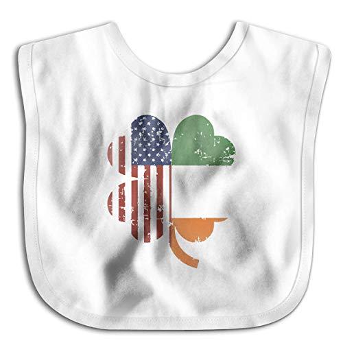 American And Ireland Flag In Irish Shamrock White Cute Baby Bandana Drool Bibs Unisex For Drooling Teething Feeding for Boys/Girls, Terry Cloth