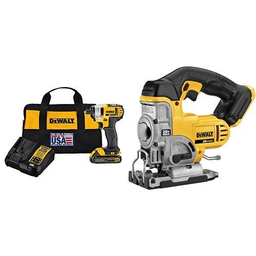 DEWALT DCF885C1 20V Max 1 4 Impact Driver Kit, with DCS331B 20-Volt MAX Li-Ion Jig Saw Tool Only