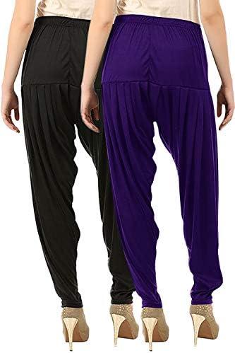 Buy That Trendz Lot de 2 pantalons coupe régulière pour femme (466D19-Vlt Combo 2 Patiala Blk/XL_Multicolor_X-Large)