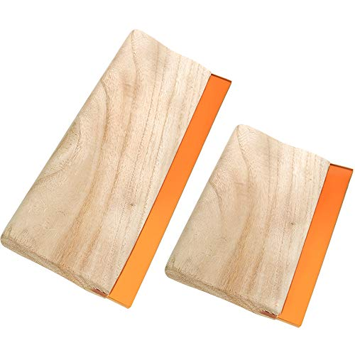 PP OPOUNT 9.4 Inches Screen Printing Squeegee and 5.9 Inches Wood Screen Ink Scraper Wooden Ink Scraper for Screen Printing