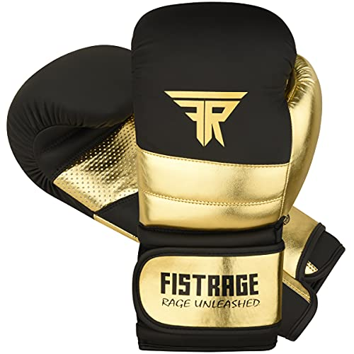 FISTRAGE Boxing Gloves Metallic Leather MMA Training Muay Thai Kick Boxing Sparring Heavy Bag Workout Glove Mitts for Men & Women (Golden-Black, 10 OZ)