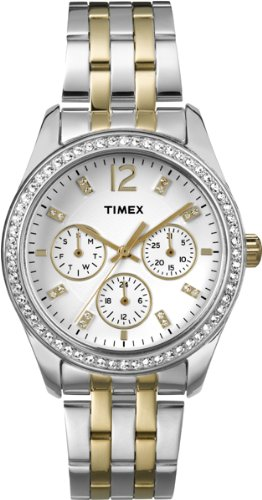 Timex T2P193 Ladies Chrome Multi Two Tone Watch with Crystals