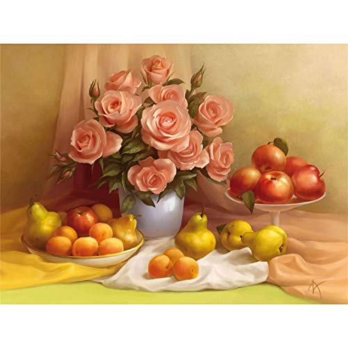 - [Wood Framed] Paint By Numbers Kit With Brushes And Acrylic,Pear Rose Flower