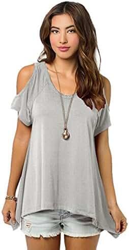 Relipop Women Hollow Out Casual Shirt Short Sleeve Off Shoulder Tunic Tops