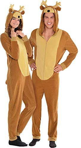 Amscan Zipster Reindeer One Piece Costume for Adults, SM/MD, with Attached Hood ()