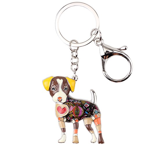 Bonsny Enamel Alloy Jack Russell Dog Key Chains For Women Gifts Car Purse Handbag Charms Jewelry (Brwon)