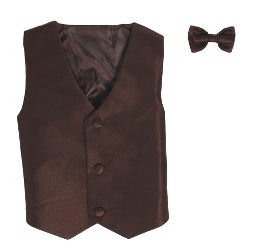 Vest and Clip On Baby Boy Bowtie set - BROWN - 2T/3T (Wool Gathered Coat)