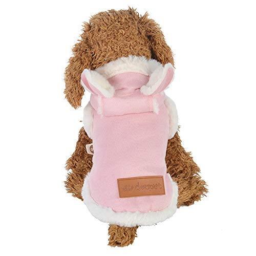 Doublelift Cold Weather Dog Hooded Coats 2 Layers Fleece Faux Fur Linned Jacket Pet Clothes with Bunny Ears (S, Pink)