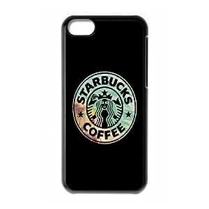 Starbucks Marcas caso 83 funda plástica teléfono celular iPhone 5C funda funda caja del teléfono celular negro cubre ALILIZHIA10010