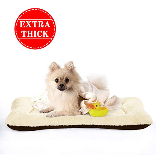 PETSGO Extra Thick Soft Warm Crate Mats(Not Suit Chewer Dog & Cat Beds for Crates-Hand Machine Wash-Anti-Slip Pet Beds for Pets Sleeping